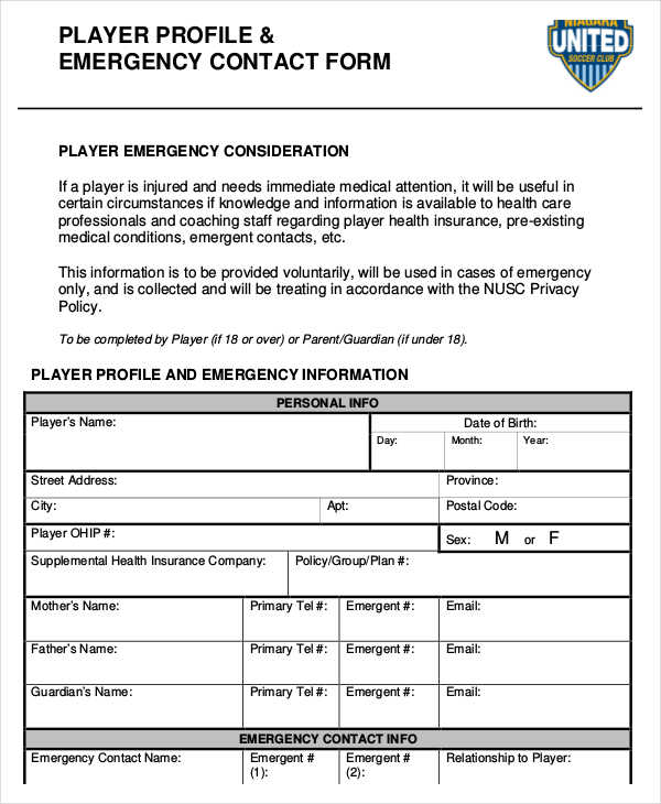 player profile emergency contact form1