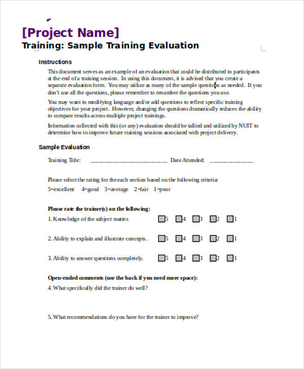 Training Evaluation Forms In Doc