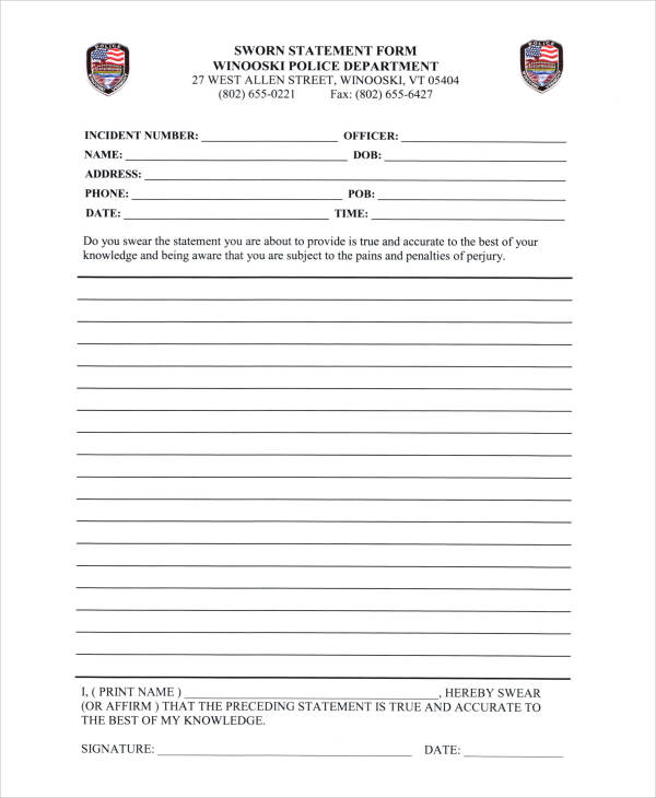 Printable Statement Forms