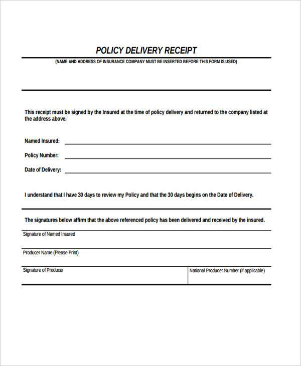 policy delivery receipt form