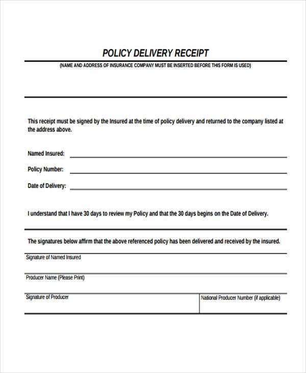 policy delivery receipt form1