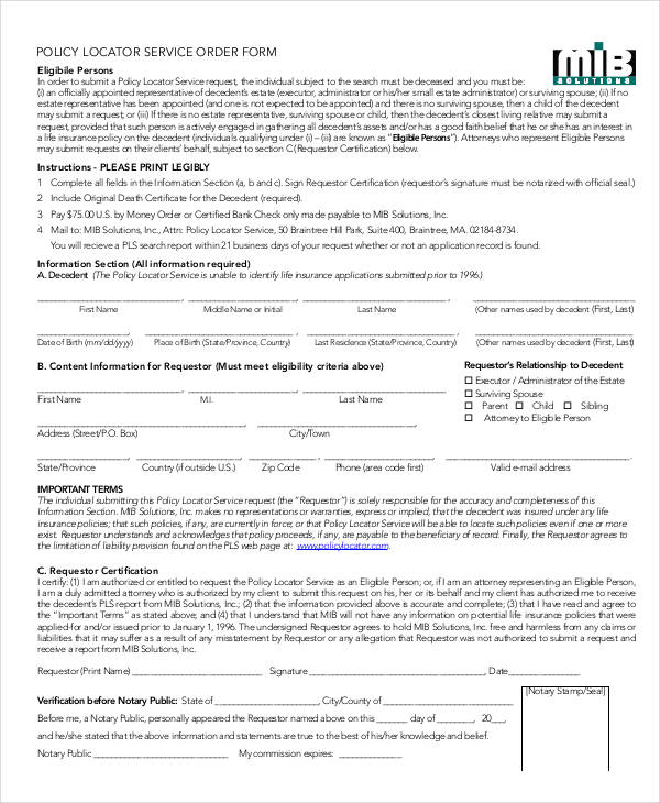 policy locator service order form