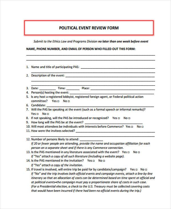 political event review form