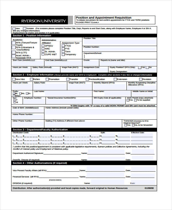 position appointment requisition form