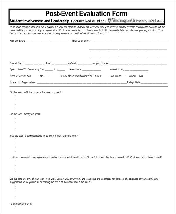 Comfortable Event Evaluation Form Template Pictures Inspiration