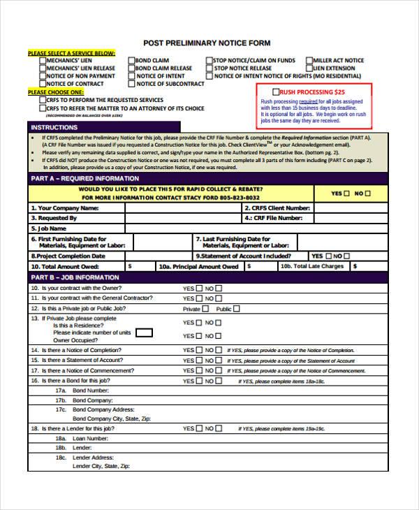 post preliminary notice form
