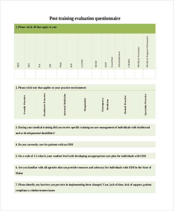 post training evaluation questionnaire form