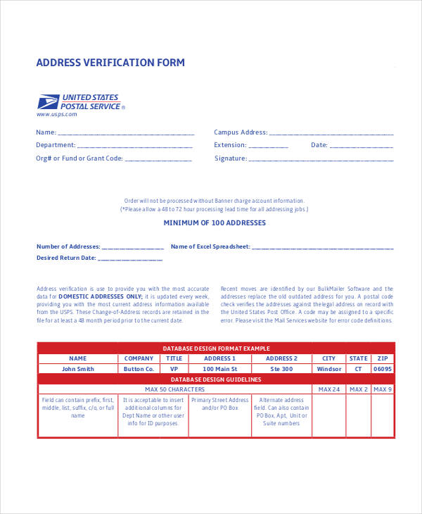 postal address verification form