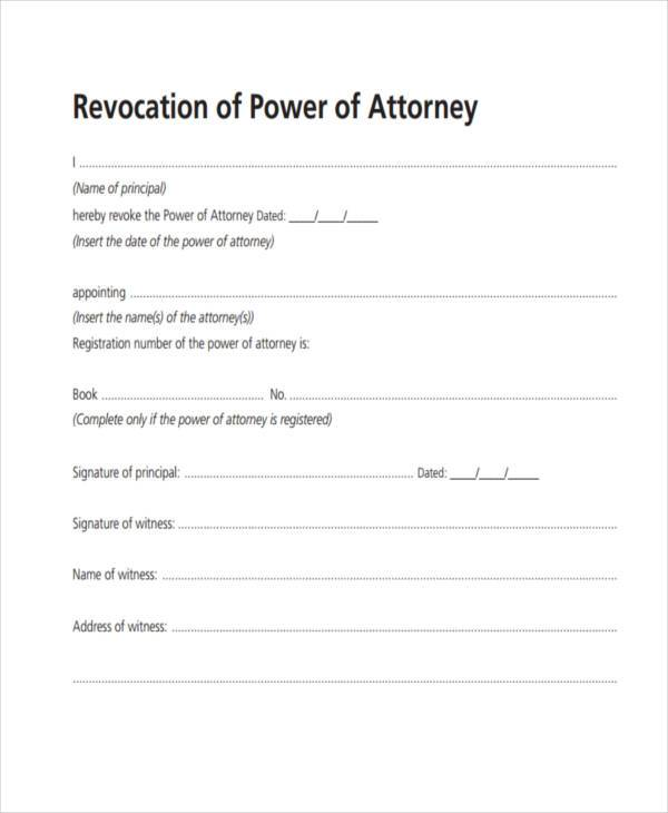 power of attorney revocation form