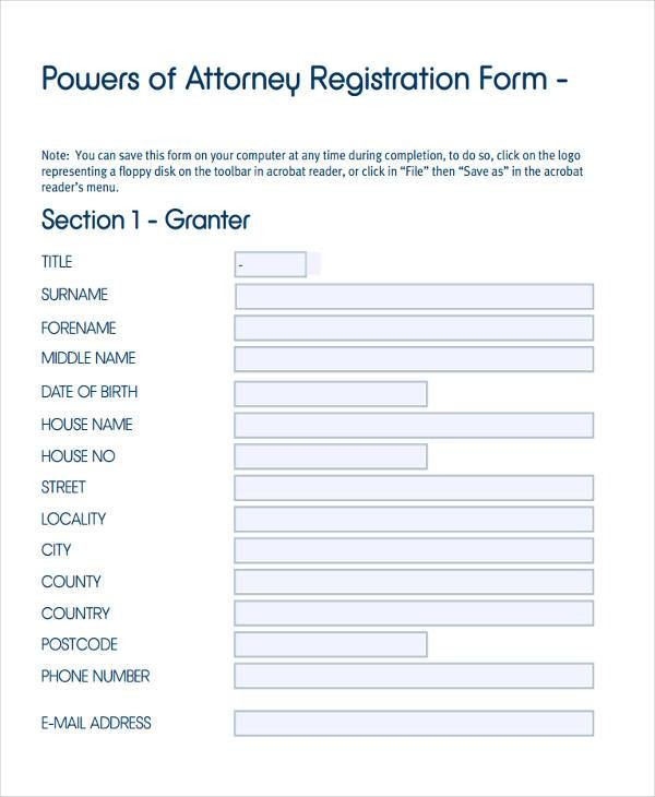 powers of attorney registration form in pdf