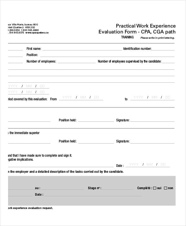 practical work training evaluation form
