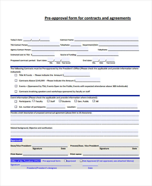 pre approval contract agreement form