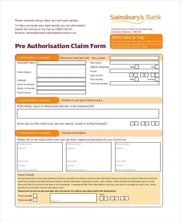 pre authorization claim form
