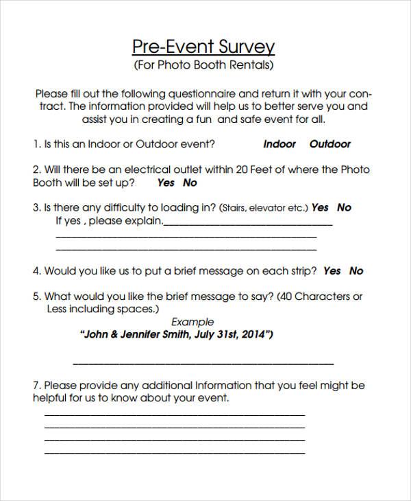 pre event survey form