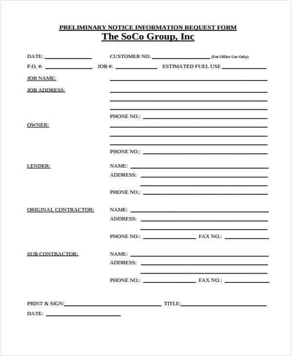 preliminary notice information form