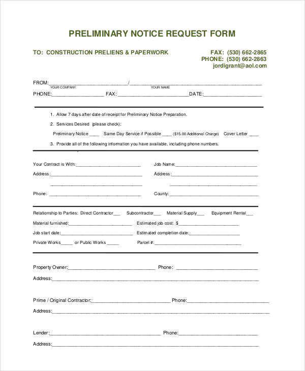 preliminary notice request form
