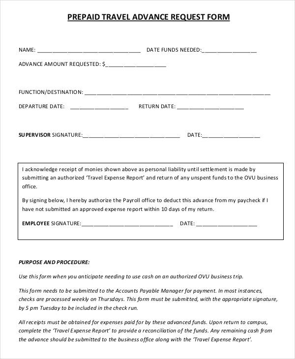 prepaid travel advance request form