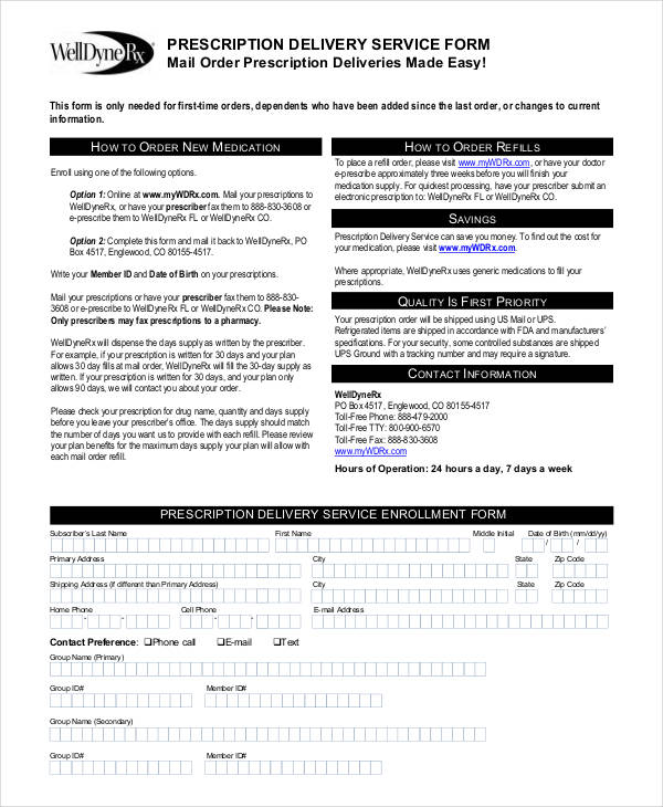 prescription mail service order form