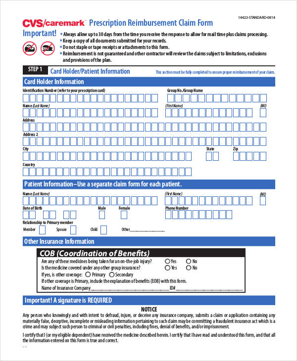 prescription reimbursement claim form1