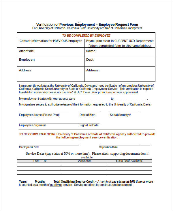Doc683913 Previous Employment Verification Form Doc1123720 – Blank Employment Verification Form