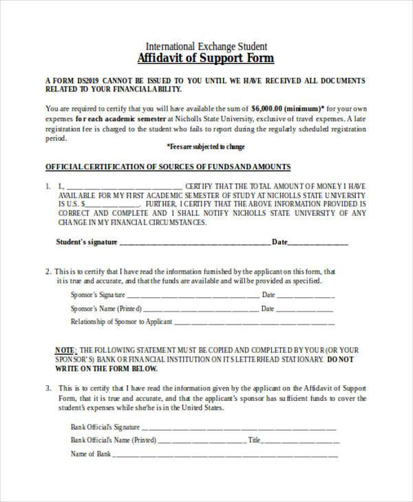 Printable Affidavit Of Support Form