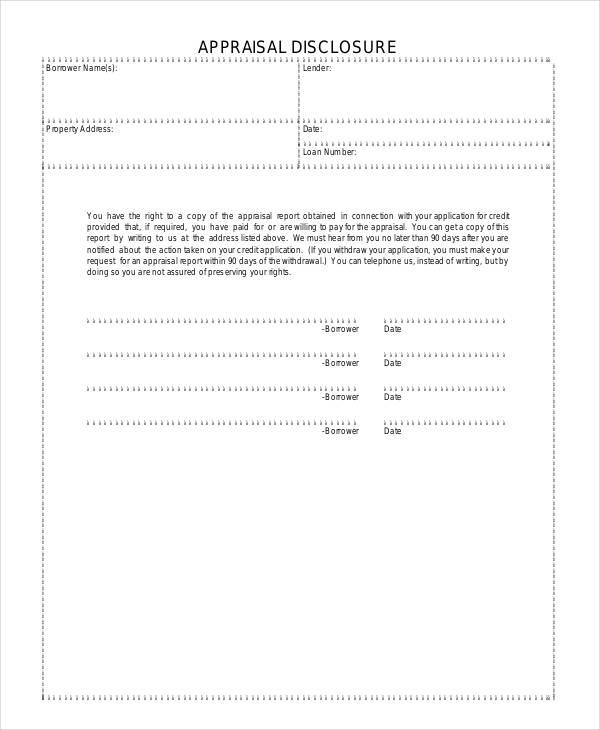 printable appraisal disclosure form