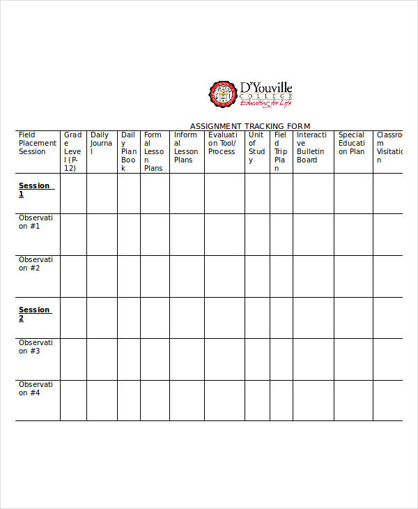 printable assignment tracking form
