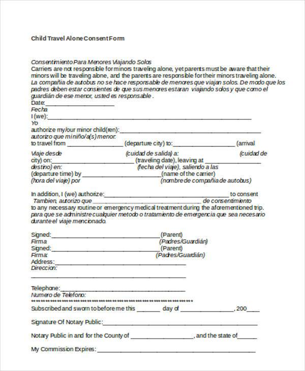 printable child travel alone consent form1