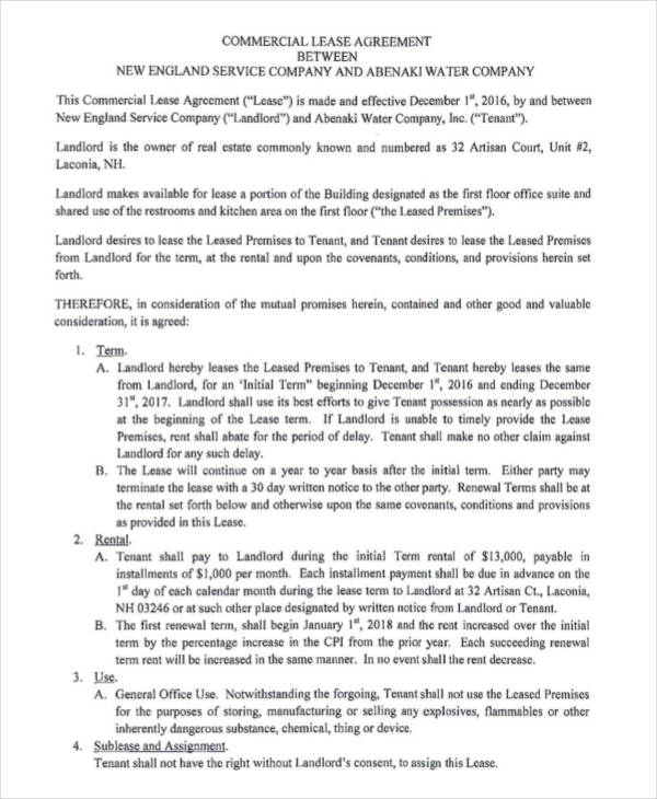 Lease Agreement Form Template – Printable Lease Agreement