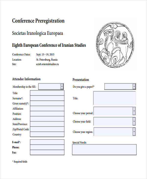 printable conference pre registration