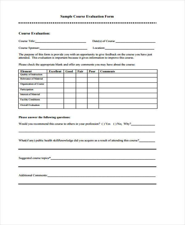 Evaluation forms for End of course evaluation template