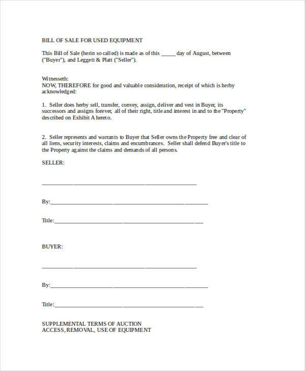 printable equipment bill of sale form