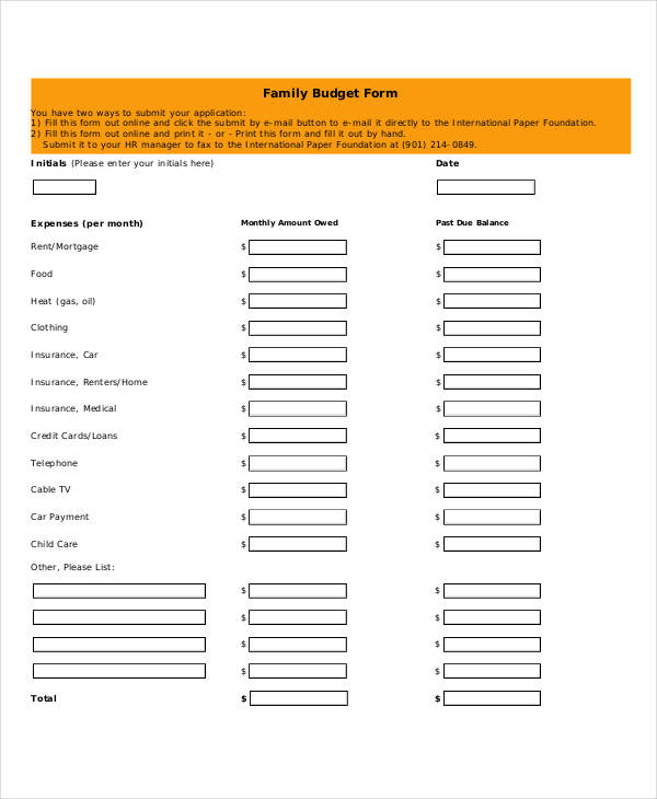 printable family budget form