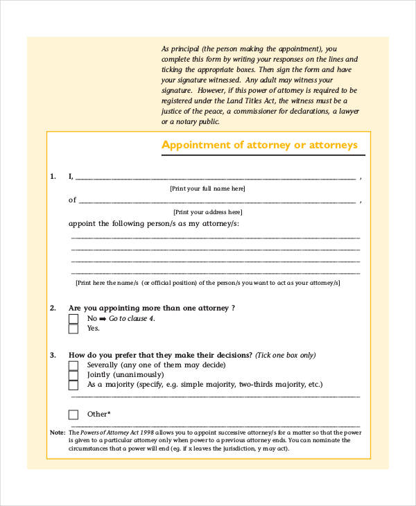 power of attorney form qld pdf  FREE 11+ Sample Power of Attorney Forms | PDF