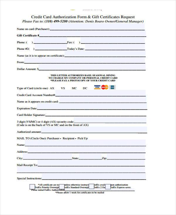 printable gift certificate request form