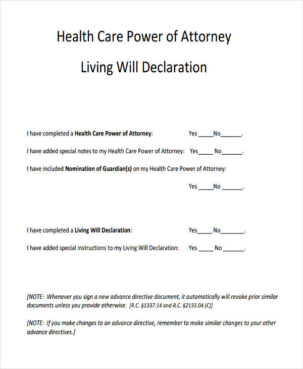 printable health care power of attorney form