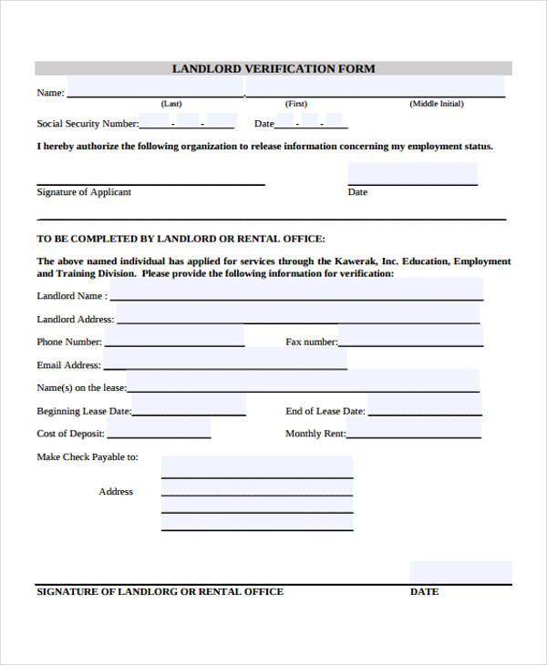 printable landlord verification form1