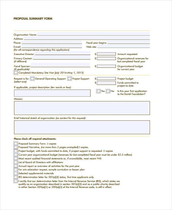 printable proposal summary form