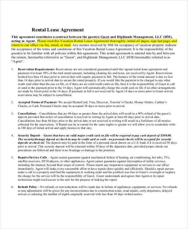 Printable Rental Lease Agreement  Printable Rental Agreement Forms