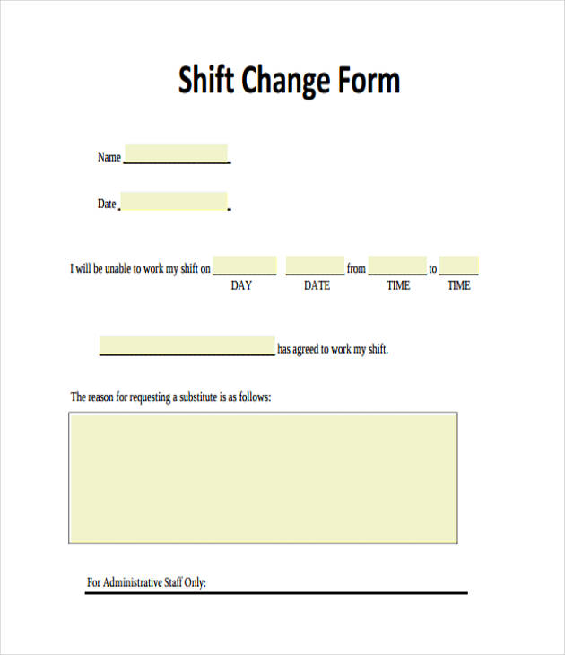 printable shift change form