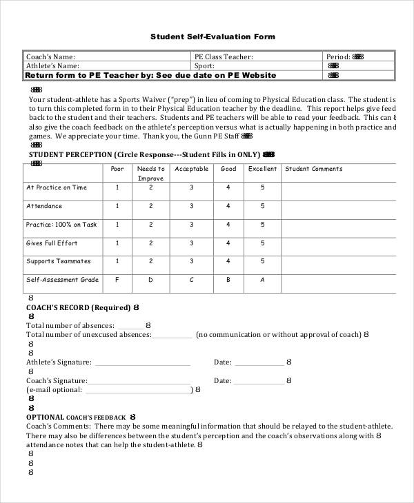 printable student self evaluation form