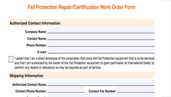 image about Printable Work Order Forms titled Free of charge 25+ Printable Operate Purchase Types PDF