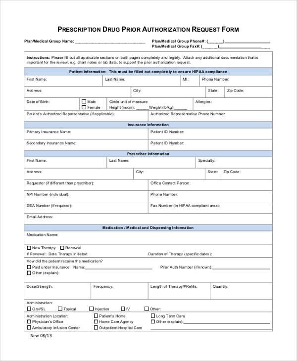 prior authorization medical form