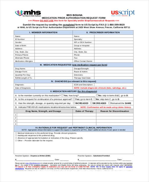 prior authorization request form
