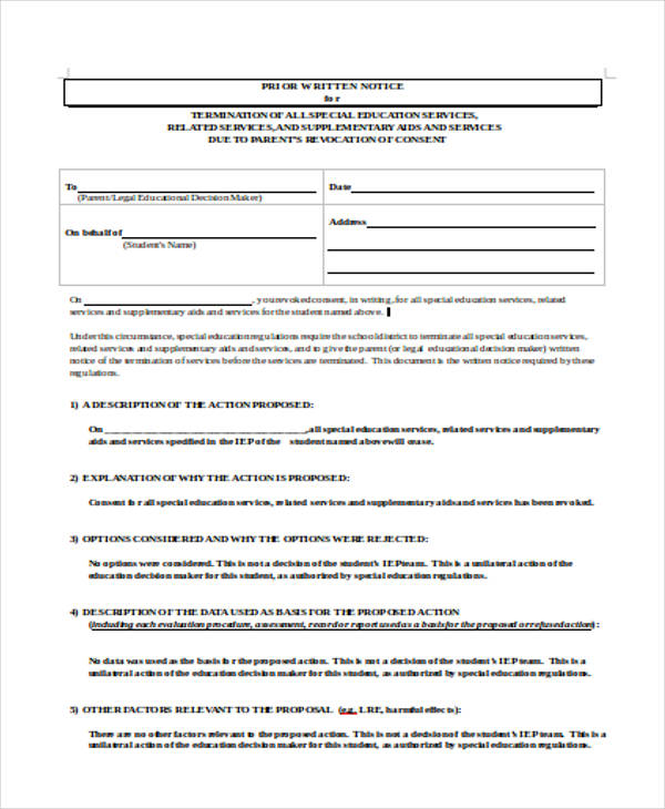 prior written notice form3