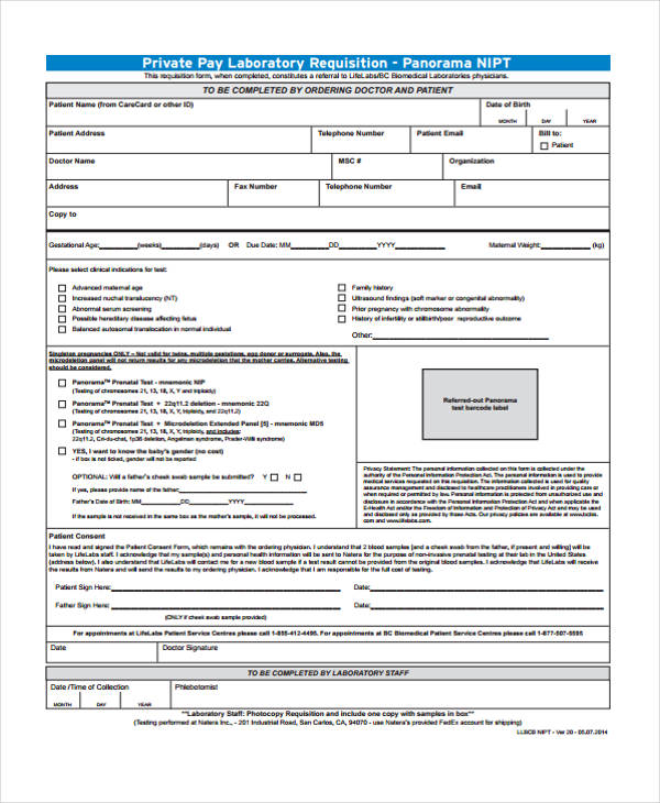 private pay laboratory requisition