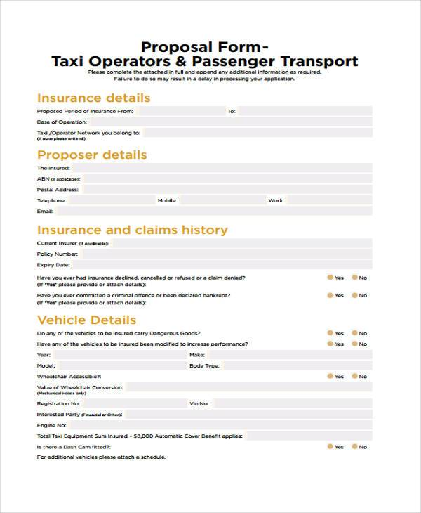 private taxi proposal form
