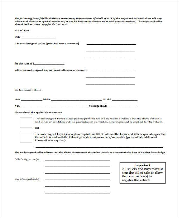 private vehicle bill of sale form