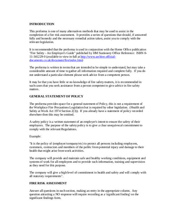 pro forma fire risk assessment form1