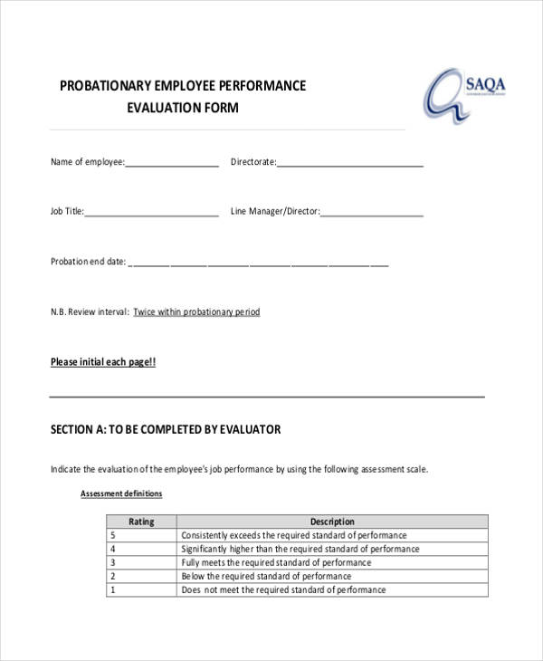 probationary employee performance evaluation form1